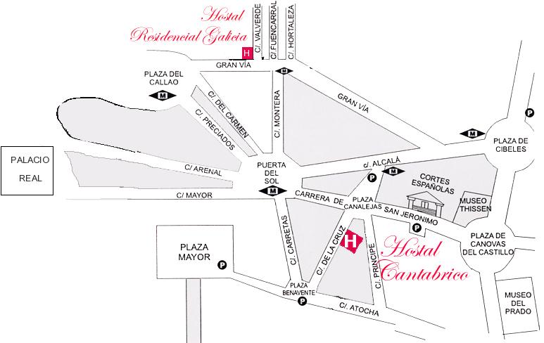 Plano de acceso de Hotel Hostal Galicia