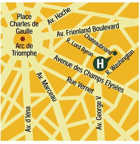 Plano de acceso de Hotel Chateaubriand (75008)