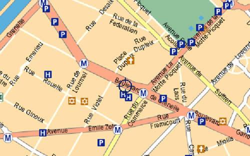 Plano de acceso de Hotel Ramada Paris Tour Eiffel