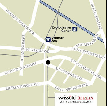 Plano de acceso de Hotel Swissotel Berlin