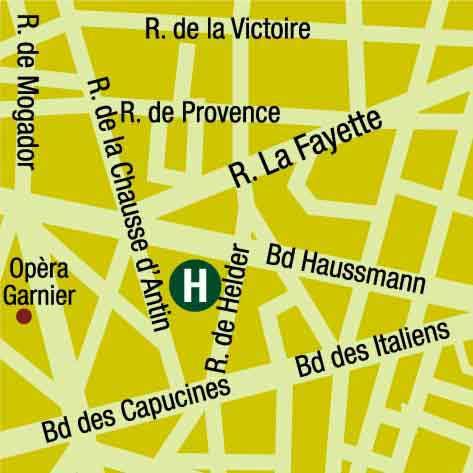 Plano de acceso de Hotel Grand H. Haussmann (75009)