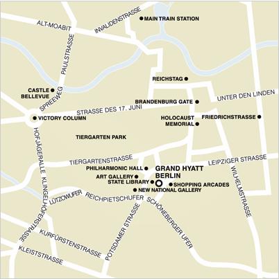 Plano de acceso de Hotel Grand Hyatt Berlin