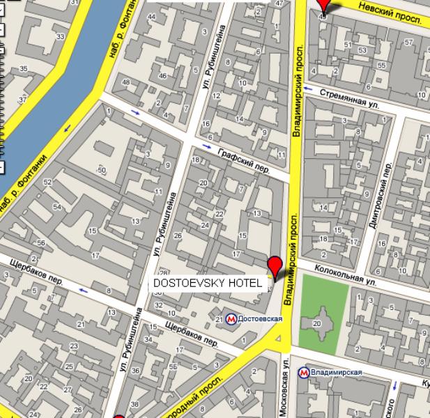 Plano de acceso de Dostoevsky Hotel