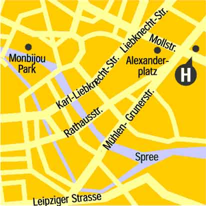 Plano de acceso de Hotel Mercure Berlin Am Alexanderplatz