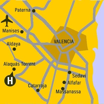 Plano de acceso de Hotel Husa Alaquas