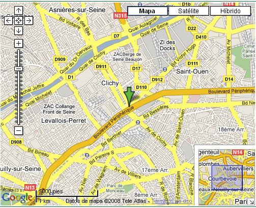 Plano de acceso de Hotel Holiday Inn Paris Porte De Clichy