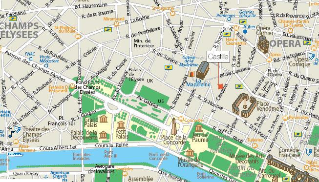 Plano de acceso de Castille Hotel