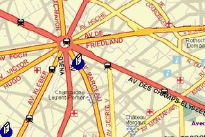 Plano de acceso de Hotel Radisson Blu Champs Elysees