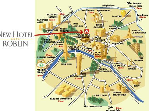 Plano de acceso de New Hotel Roblin