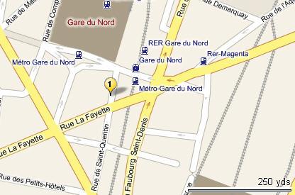 Plano de acceso de De La Gare Du Nord Hotel