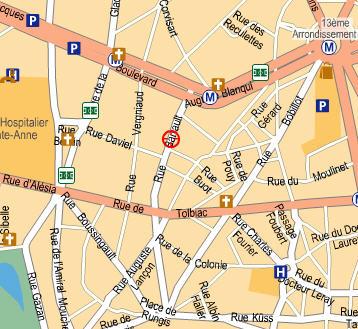 Plano de acceso de Timhotel Place D'italie Butte Aux Cailles (Timhotel Italie)
