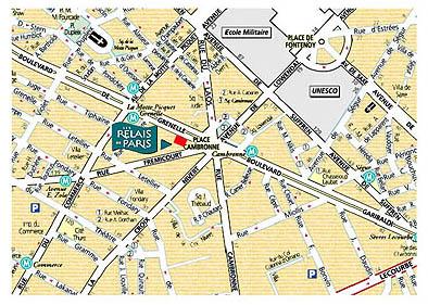 Plano de acceso de Hotel Relais De Paris Eiffel Cambronne
