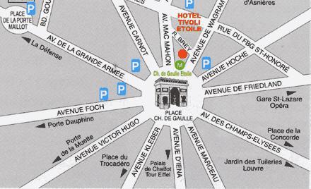 Plano de acceso de Tivoli Hotel Paris