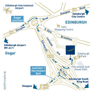 Plano de acceso de Hotel Novotel Edinburgh Park