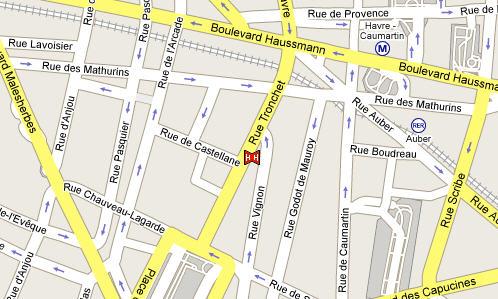 Plano de acceso de Tronchet Hotel