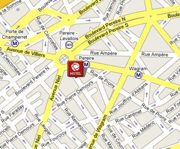 Plano de acceso de Courcelles Etoile Hotel
