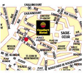 Plano de acceso de Hotel Comfort Place Du Tertre