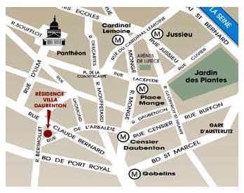Plano de acceso de Hotel Residence Villa Daubenton