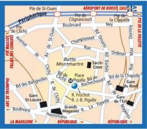 Plano de acceso de Frochot Hotel (Formerly Arcantis Frochot)