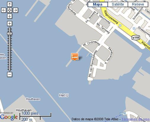 Plano de acceso de Hotel Amstel Botel