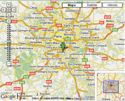 Plano de acceso de Hotel Holiday Inn Paris Orly Airport