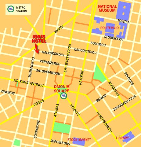 Plano de acceso de Ionis Hotel