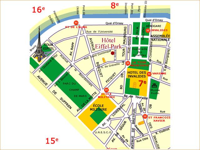 Plano de acceso de 7 Eiffel (Ex Eiffel Park Hotel)