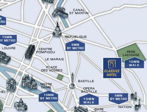 Plano de acceso de Hotel Classics Bastille
