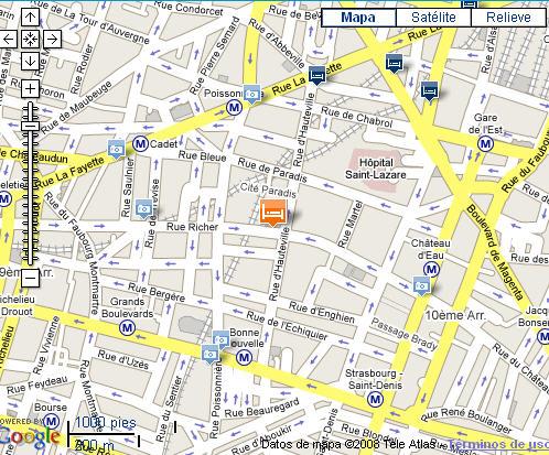 Plano de acceso de Hotel Best Western Opera Grands Boulevards