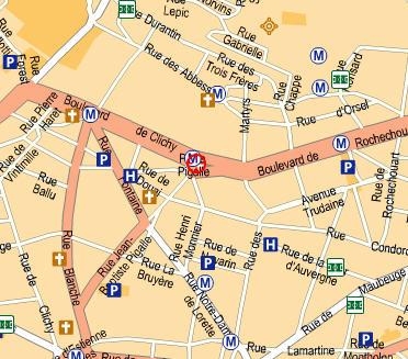 Plano de acceso de Timhotel Saint Georges-Pigalle