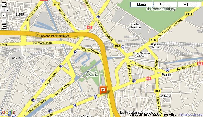 Plano de acceso de Hotel Holiday Inn La Villette
