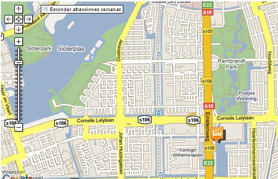 Plano de acceso de Hotel Bastion Amsterdam Centrum Zuidwest