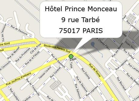 Plano de acceso de Prince Monceau Hotel