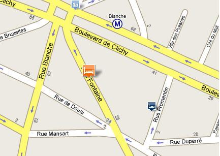 Plano de acceso de Hotel Moulin Plaza