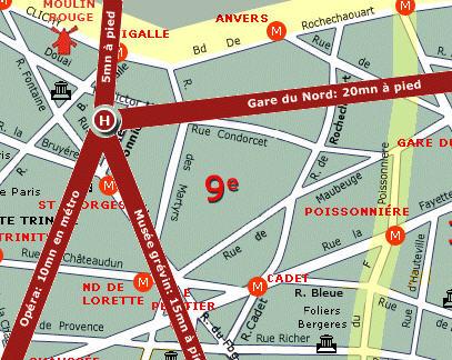 Plano de acceso de Villa Margaux Opera Montmartre (Formerly Paris Hotel)