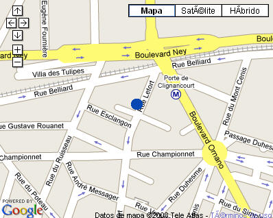 Plano de acceso de Hotel Iliade Paris 18