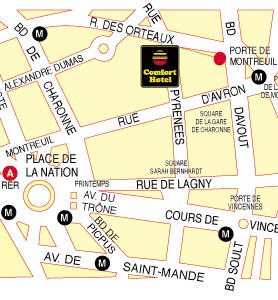 Plano de acceso de Comfort Hotel Davout