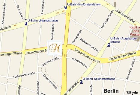 Plano de acceso de Berlin Mark Hotel