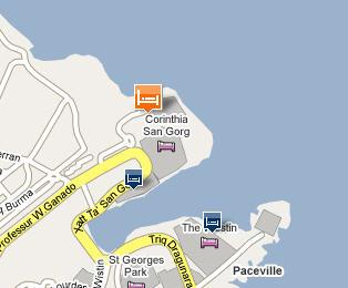 Plano de acceso de Hotel Radisson Blu St. Julian S