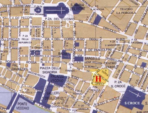 Plano de acceso de Hotel Santa Croce