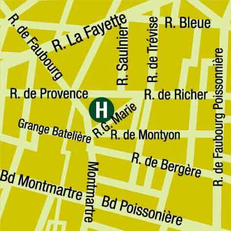 Plano de acceso de Hotel Lodge Du Centre (75009)