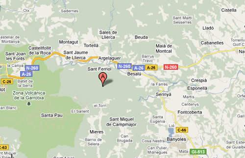 Plano de acceso de Can Güell Resort Hotel Besalu