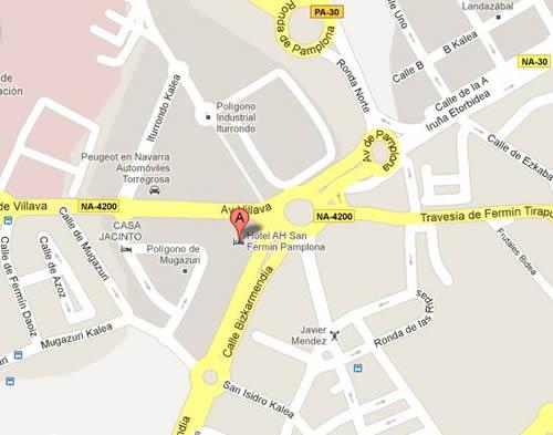 Plano de acceso de Hotel Ah San Fermin Pamplona