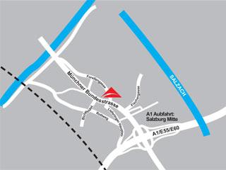 Plano de acceso de Hotel Salzburg Mitte