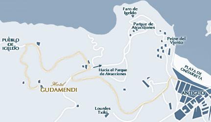 Plano de acceso de Hotel Gudamendi