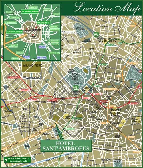 Plano de acceso de Hotel Sant`Ambroeus
