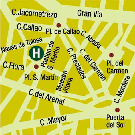 Plano de acceso de Hotel Palacio De San Martin