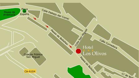 Plano de acceso de Hotel Los Olivos