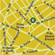 Plano de acceso de Hotel Monceau Wagram-Arc Triomphe