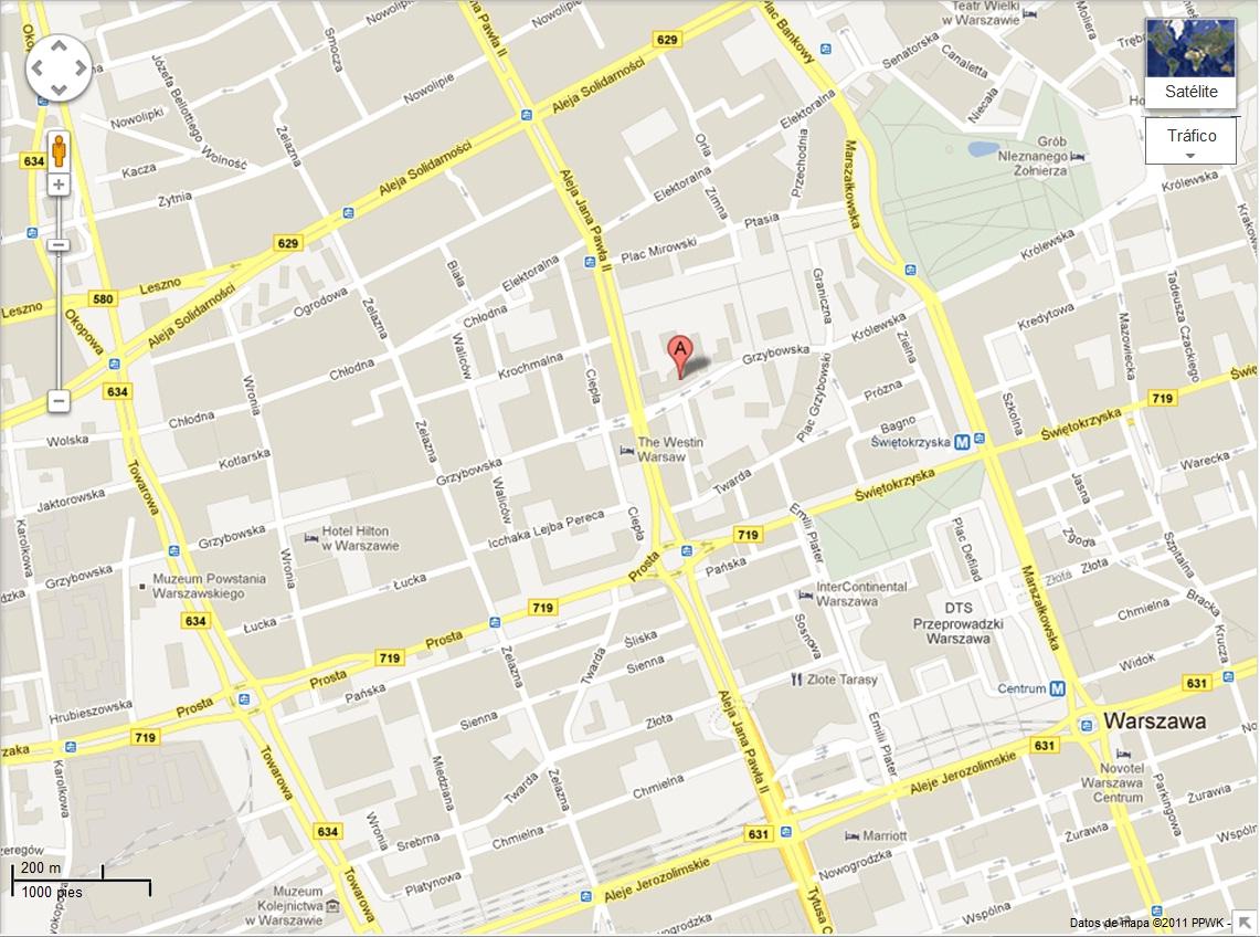 Plano de acceso de Radisson Blu Centrum Hotel